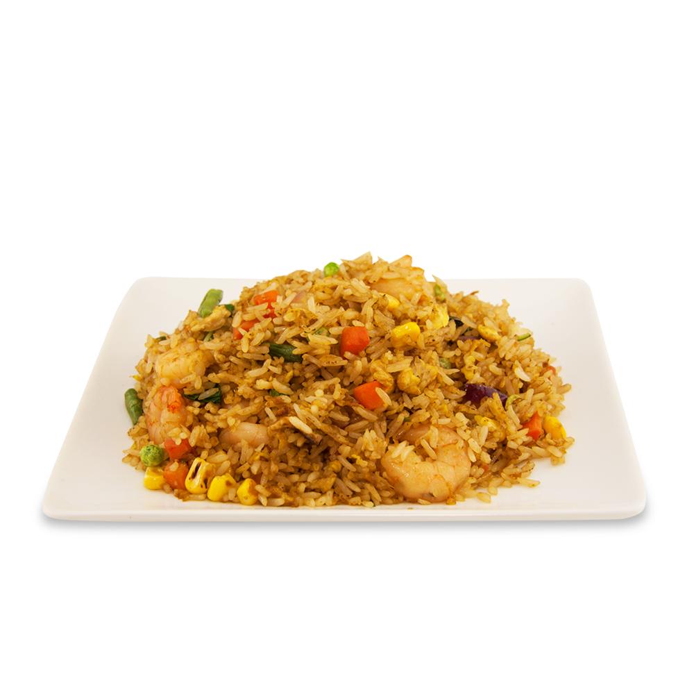 Riz frit avec basilic - A ) LégumesB ) PouletC )BœufD ) Crevettes