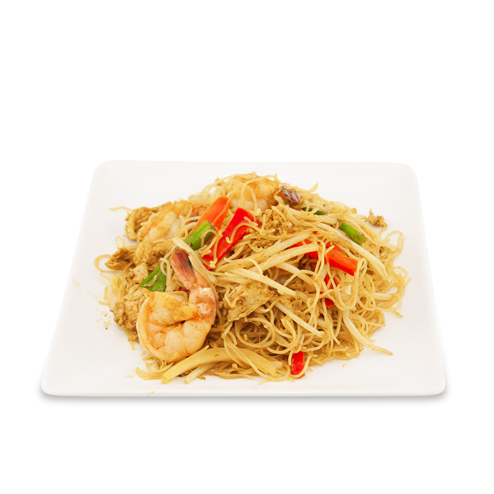 Nouilles Singapour - A ) LégumesB ) PouletC )Crevettes