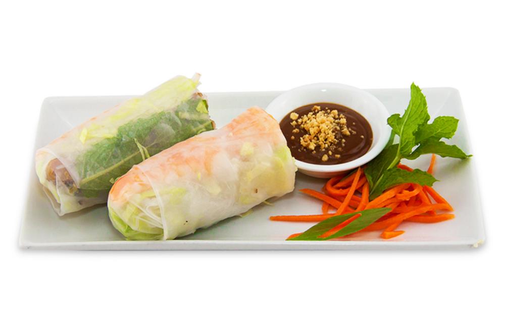 Rouleau printanier aux crevettes et poulet (feuille de riz) - accompagné de sauce poisson ou arachide