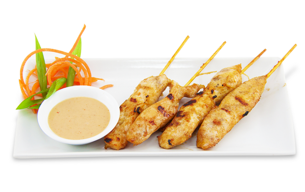 Brochettes de poulet - servi accompagné de sauce arachide