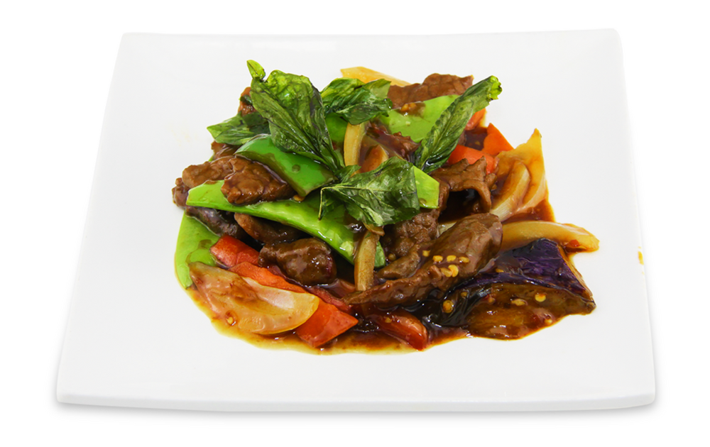 Stir fry basil beef with eggplants -