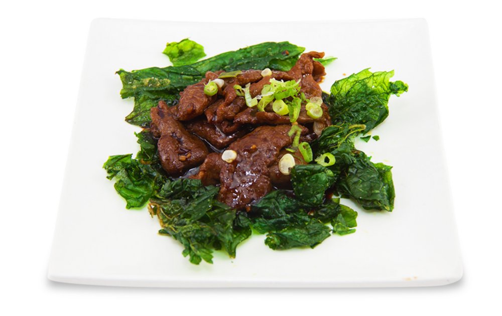Beef with black pepper with crispy spinach -
