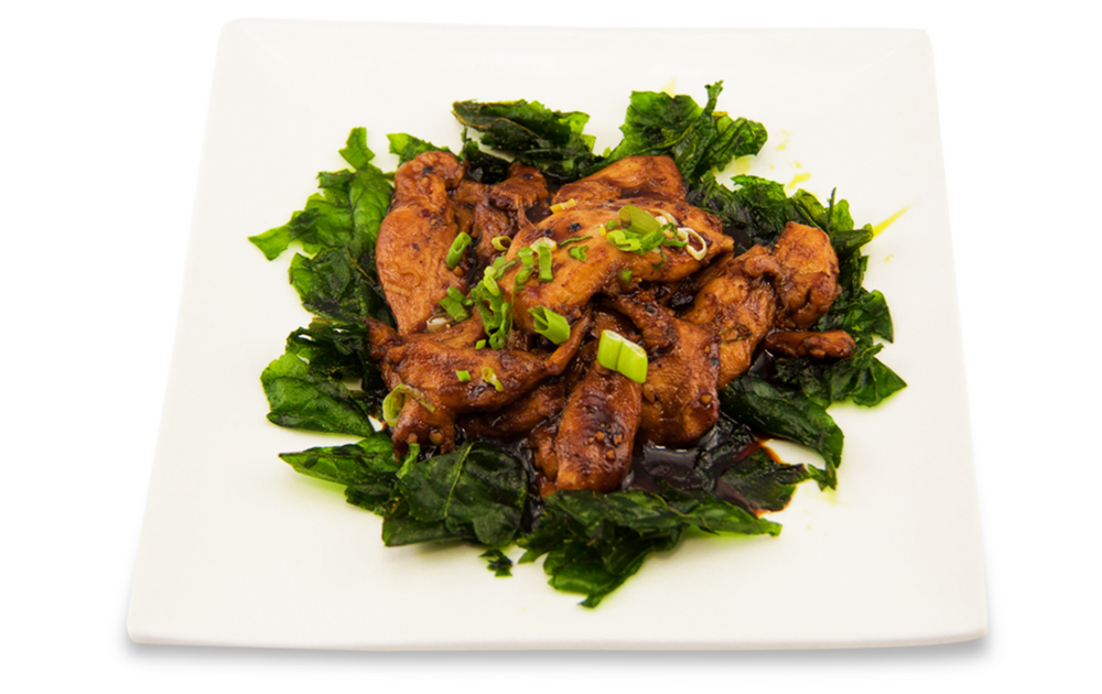 Stir fry chicken with pepper sauce with crispy spinach -