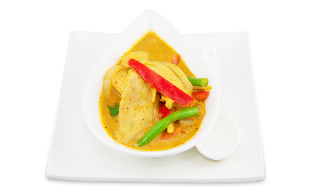 Yellow curry - A ) VegetablesB ) ChickenC )BeefD ) DuckE )Seafood