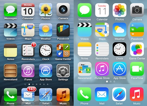 An evolution of the iPhone iconology: from skeuomorphism to flat design