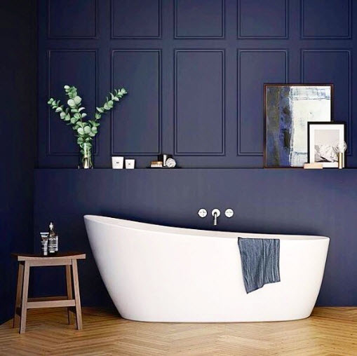 Abi Interiors simple and clean Tub with a great coat of Blue Paint.