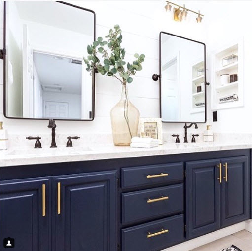 Traditional with a Colorful Twist from Dogs and Design. You can easily take an existing wooden vanity and transform the whole room with a Bold coat of paint.