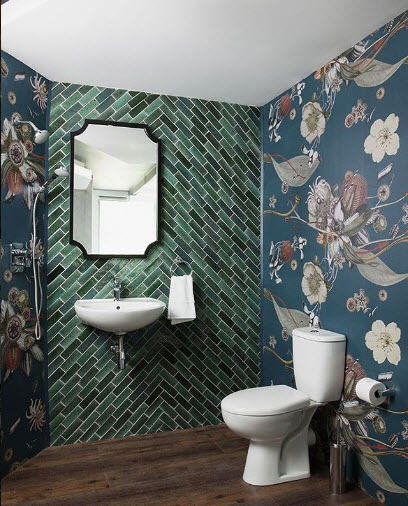 Rpbinsprong Wallpapers shows us that you don't always have to be Matchy-matchy for a great impact. I am curious what happens to the water in this bathroom….