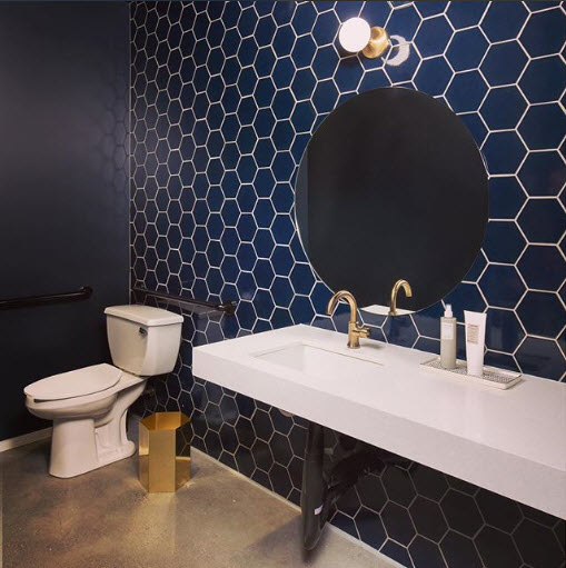 Sometimes all you need is one accent wall of a simple and classic Hexagon Tile in a Bold Color to turn a space up three notches. Thanks for this great showcase of that Uniplex Construction!