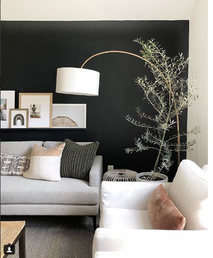 One Black Accent Wall makes all the difference in this design by Kimmy Intx.