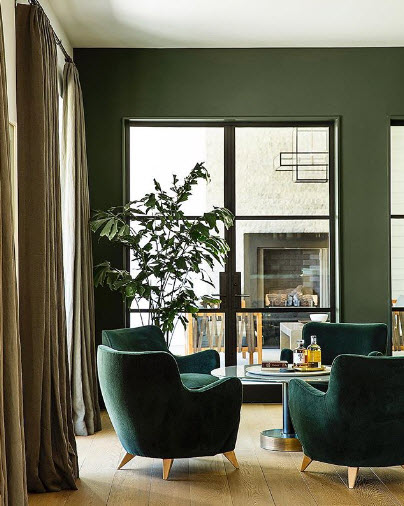 Green is both Calming and Energetic as demonstrated in this Sitting Area by Nicole Hollis.