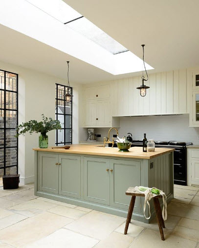 Kitchen Cabinets like these from Devol Kitchens really become quite special with a color on them. Green is a pretty safe bet for one that you won't get sick of given it is all around us.
