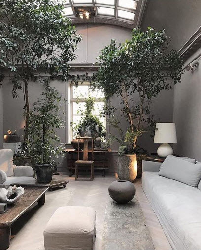 Studio Oliver Gustav gets my vote for best use of the 2019 Color of the Year. The Greys are warm and with so many plants and trees and deep-seated, clean-lined furniture, I could live, work and play in this room all day.