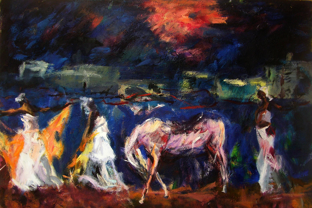 artist:ronan walsh, 3 dancers and white horse, 47 x 70ins, oil paint on canvas, 2005, avail, $28,000,00 night, seascape dancers havanna impressionism