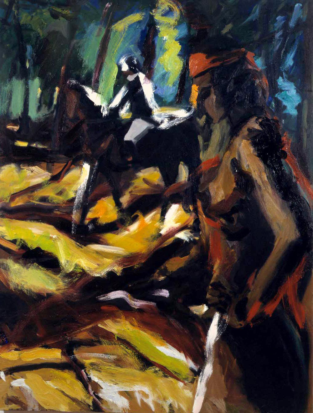 pheonix,-park-1999-oil-  canvas-42x58ins-prvt-ollection, alt text;forest-rider-woman-figureative-painting.jpg