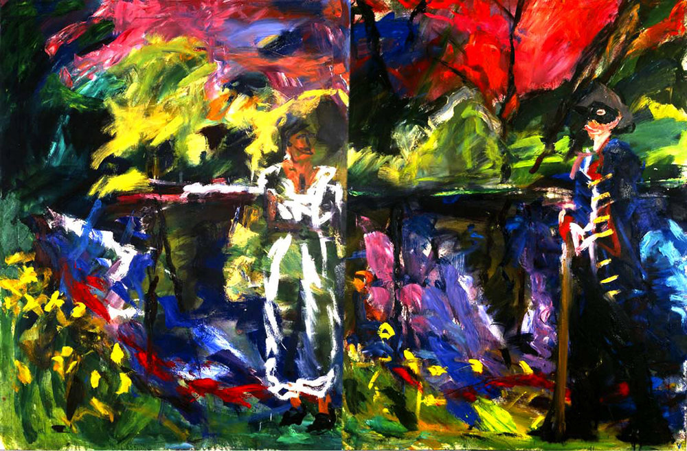 ronan-walsh- by -the- liffey-oil on canvas-2x60x48ins-diptych-1997;alt text-2-figures-river-oil-painting-.jpg