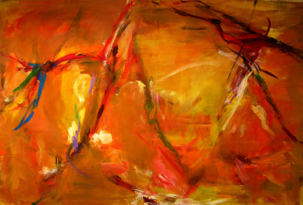 ronan-walsh- camargue-,orange-yellow-oil-on- canvas-64'x96ins-,2008-$36,000;alt text;abstract-art-painting-camargue.jpg