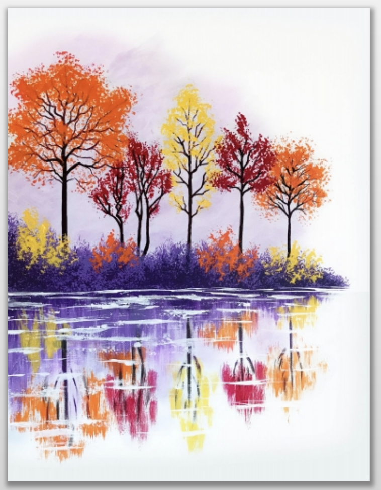 Fall Lake Reflection - PaintNite