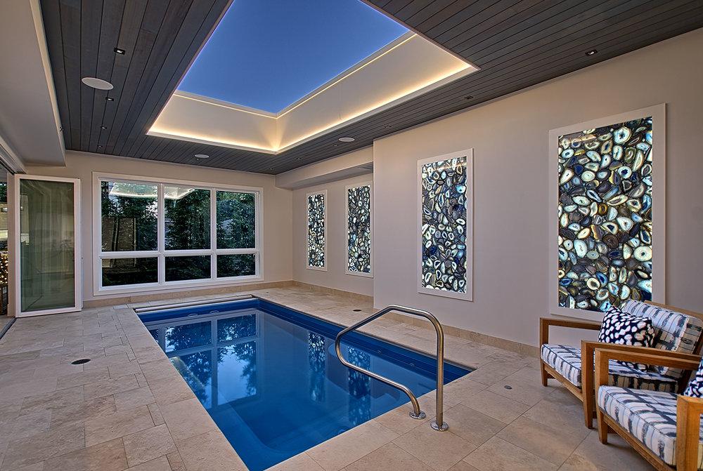 Pool room, backlit agate -