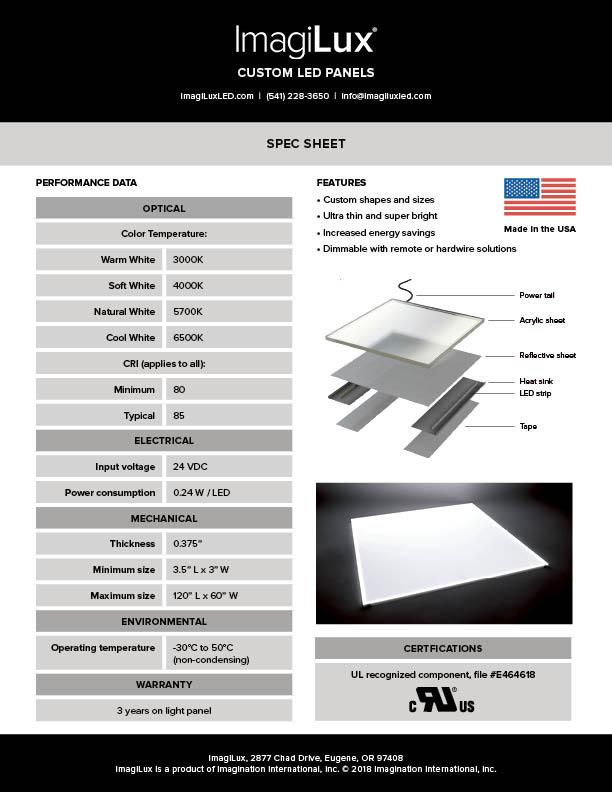 White Panel Spec Sheet -