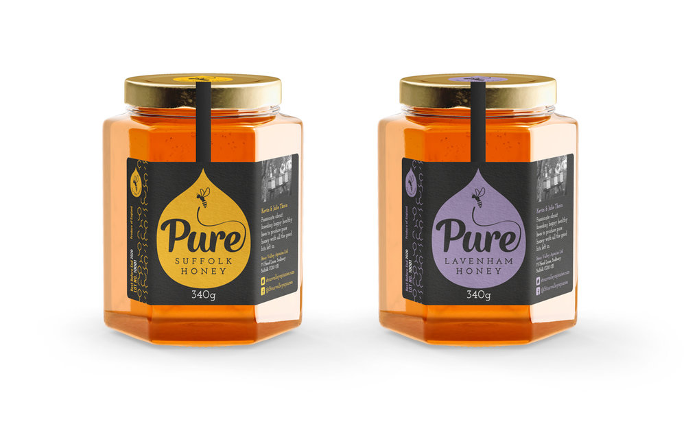The finished honey jar labels for Stour Valley Apiaries.
