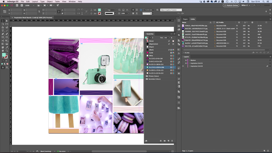 Adobe InDesign makes it very easy to position your images and colour blocks.
