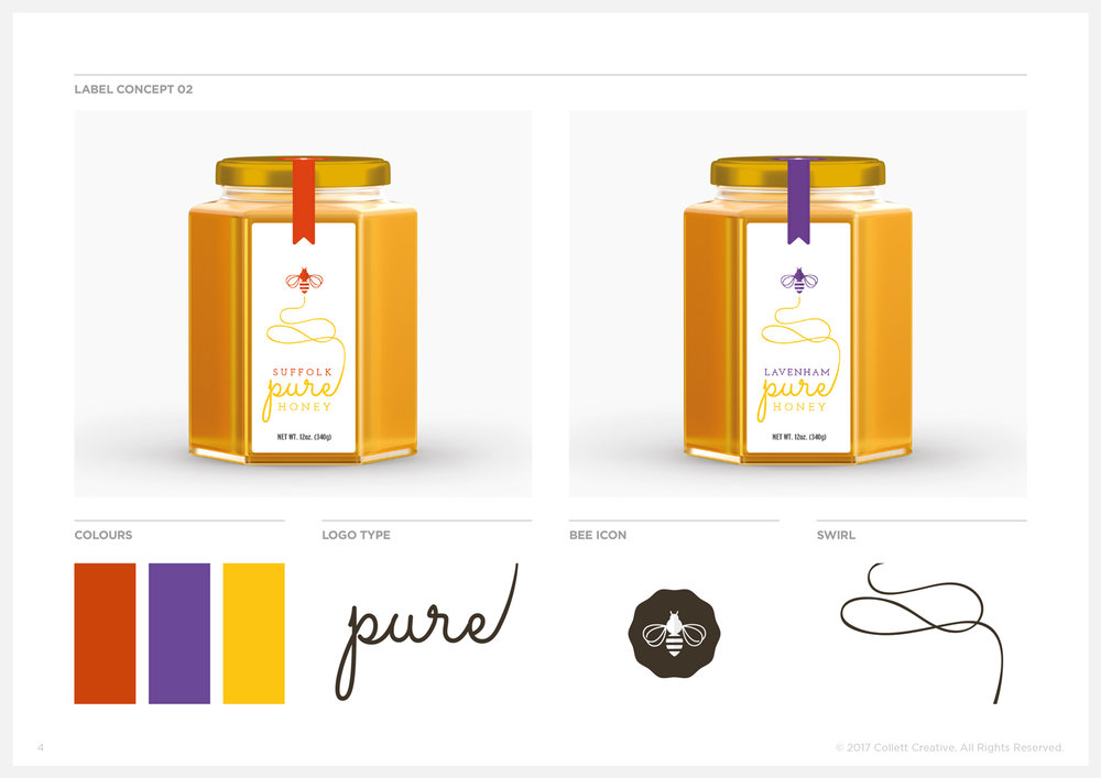 Concept No. 2  - Honey Jar Label Fronts and Graphic Elements.