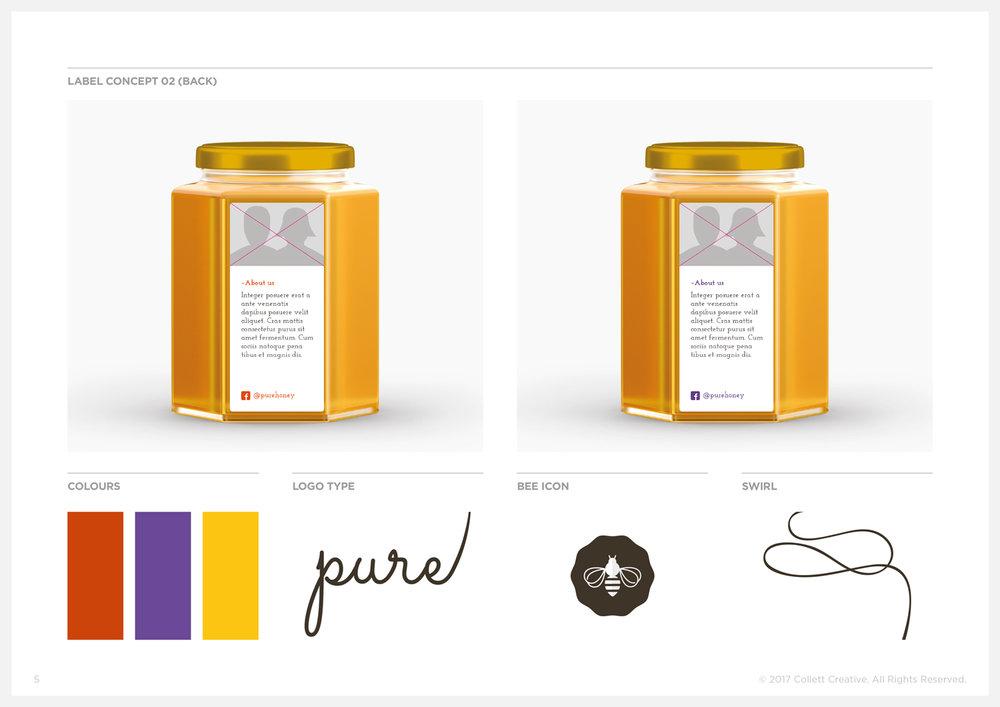 Concept No. 2  - Honey Jar Label Backs and Graphic Elements.