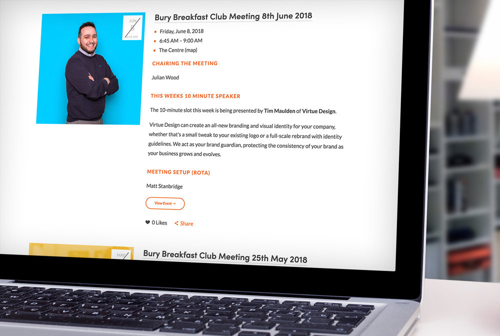 The Events Page on the Bury Breakfast Club Website.