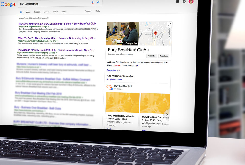 Google search results and knowledge graph from Google My Business for the Bury Breakfast Club.