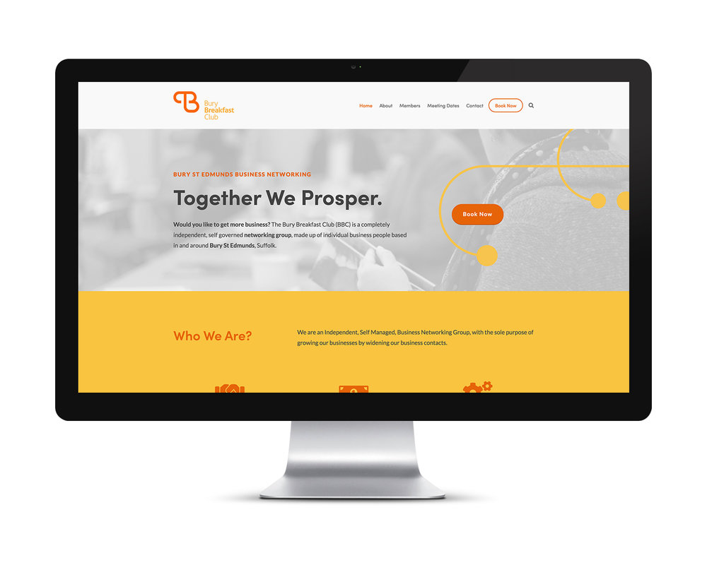 Website home page for the Bury Breakfast Club in Bury St Edmunds, Suffolk.