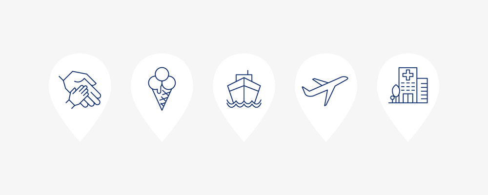 Icons for the TripLinks website.