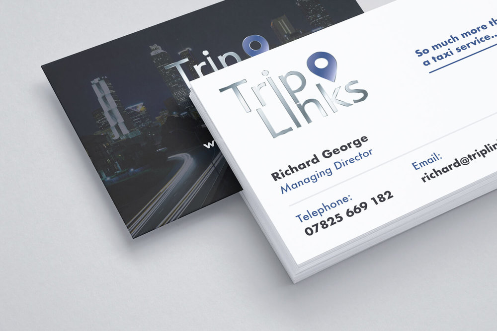 Business Card that we designed for Richard from TripLinks with spot UV varnish (Front).