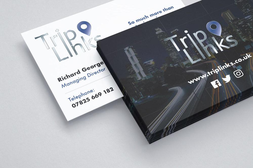Business Card that we designed for Richard from TripLinks with spot UV varnish (Back).