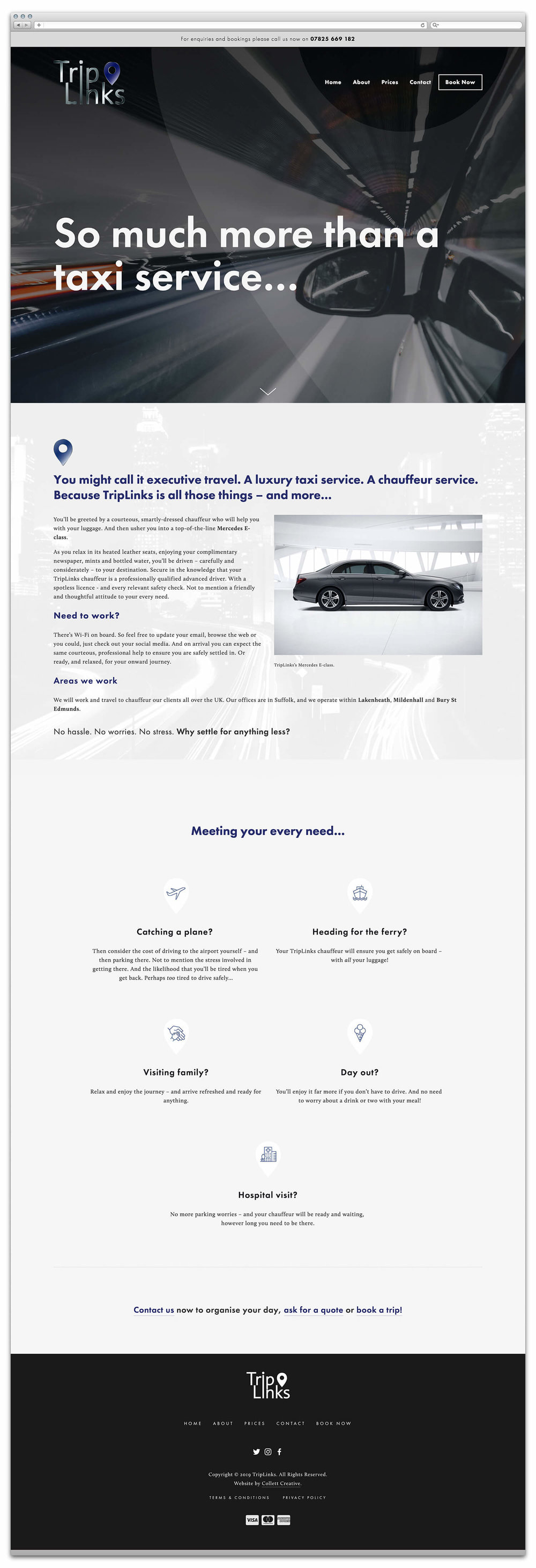 The TripLinks homepage website design (viewed in a browser) at the time it launched.