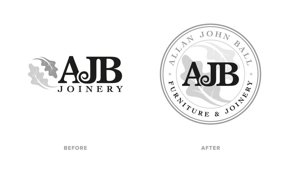 AJB Joinery logo design before (left) and after (right).