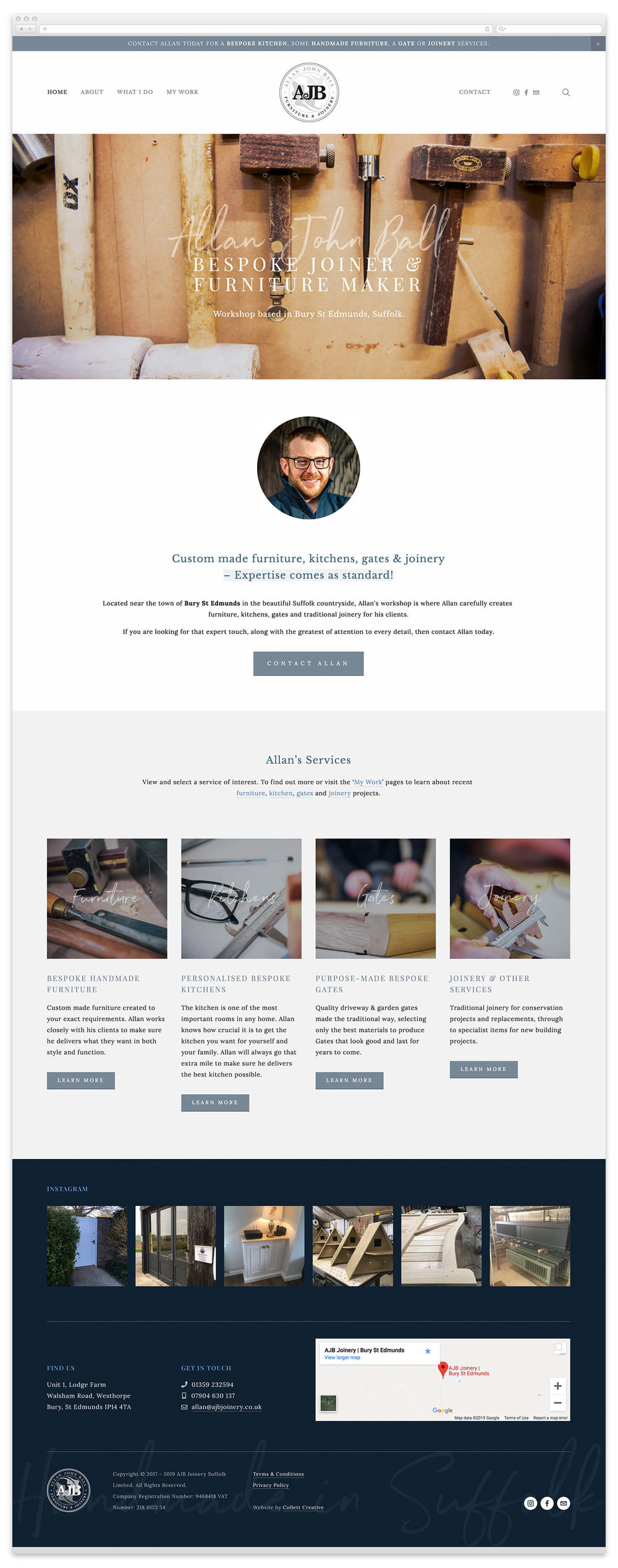Image of the AJB Joinery website homepage at time of launch.