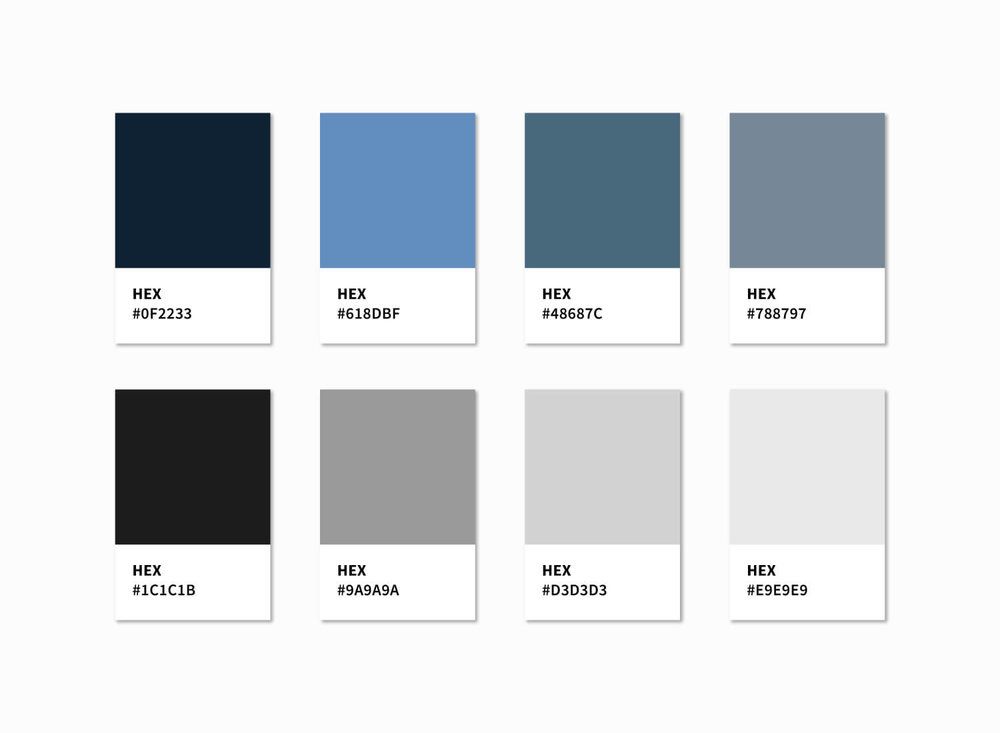 The AJB Joinery Colour Swatches (Hex Values) we created for the new website design.