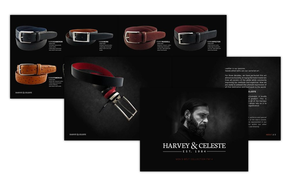 Harvey & Celeste belt catalog for men