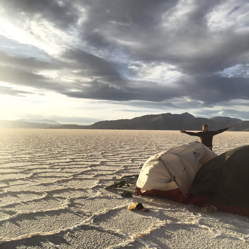 Camping on the Bolivian salt flats. Choosing a spot on this occasion was fairly simple.