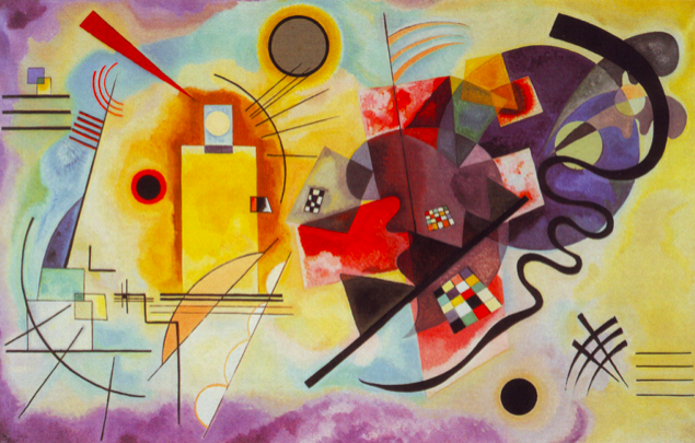 "Wassily Kandinsky, ""Yellow-Red-Blue"" (1925), oil on canvas (Musée National d'Art Moderne, Centre Georges Pompidou, Paris, via  WikiArt )"
