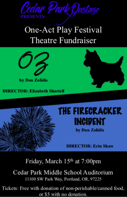 Cedar Park Onstage Presents One Act Festival on Friday, 3/15
