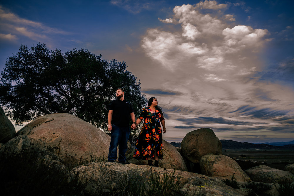 Ramona Grasslands Rocks with Couple Violets and Clementines Photography San Diego