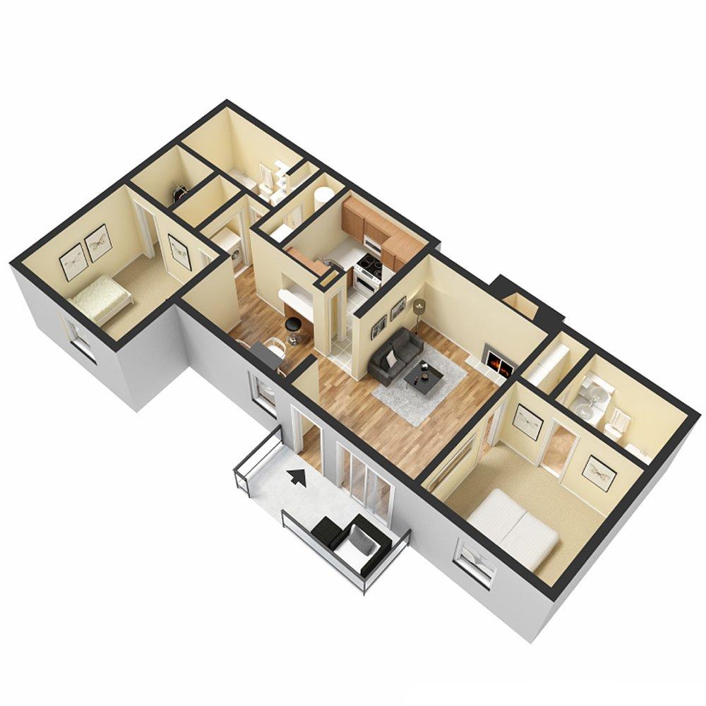 2 Bed 2 Bath - 844 Sq.Ft.