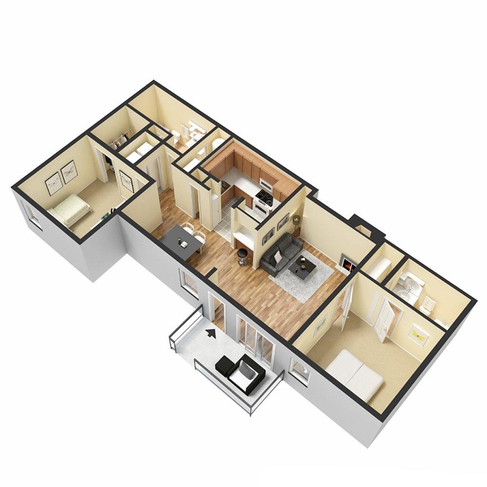 2 Bed 2 Bath - 1034 Sq.Ft.