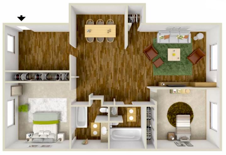 2 Bed 2 Bath - 1236 Sq.Ft.