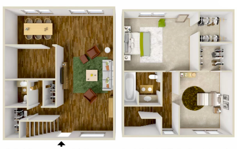 2 Bed 1.5 Bath Townhome - 1500 Sq.Ft.