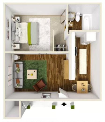 1 Bed 1 Bath - 515 Sq.Ft.