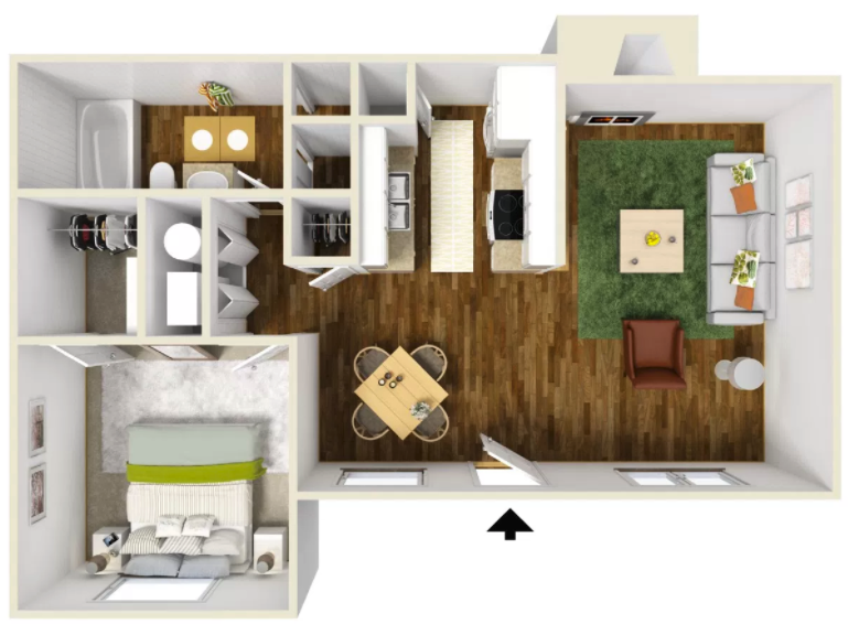 1 Bed 1 Bath - 625 Sq.Ft.