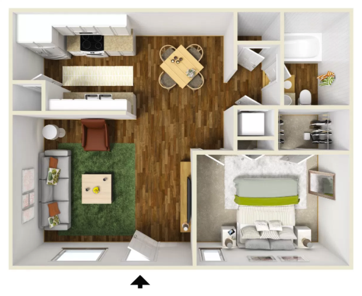 1 Bed 1 Bath - 550 Sq.Ft.